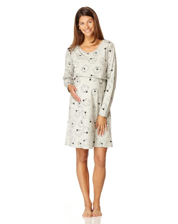 Camicia da notte allattamento grigia con coniglietti - Prénatal