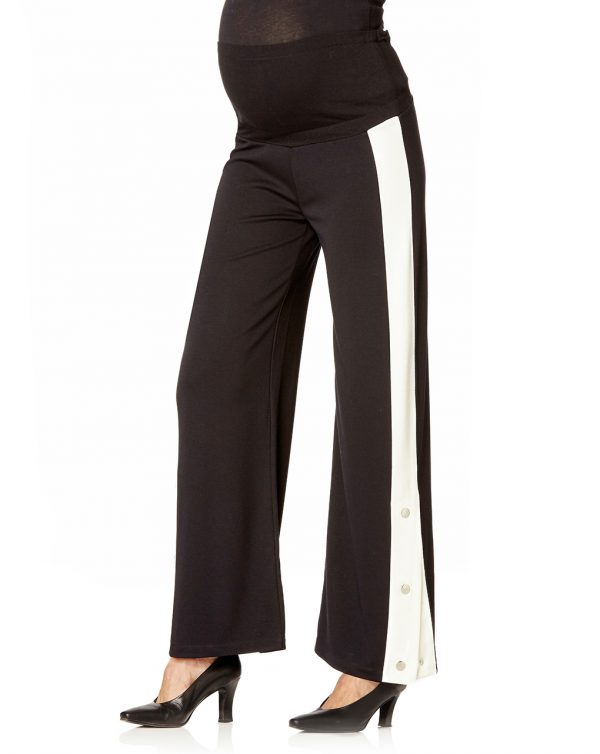 Pantaloni neri con banda bianca e automatici - Prénatal