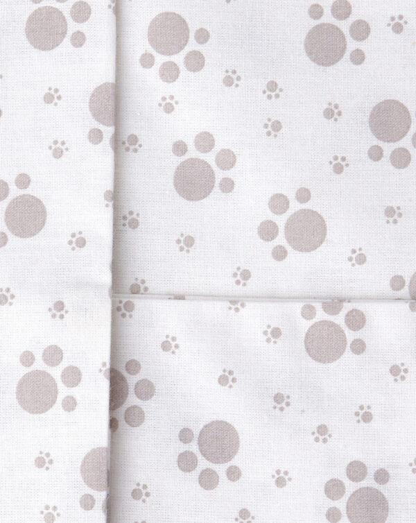 Parure per culla 2 pezzi con stampa impronte zampine grigie - Prénatal