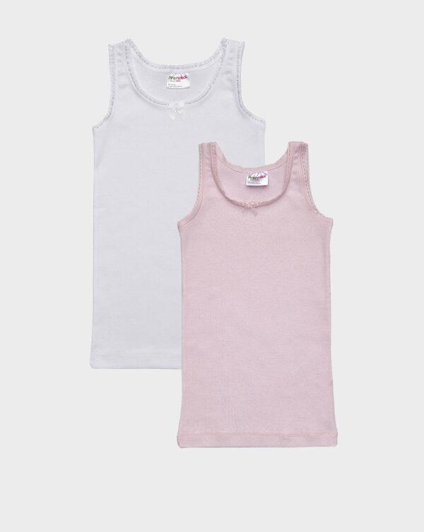 Pack 2 canotte spalla larga bianco e rosa con frill - Prénatal