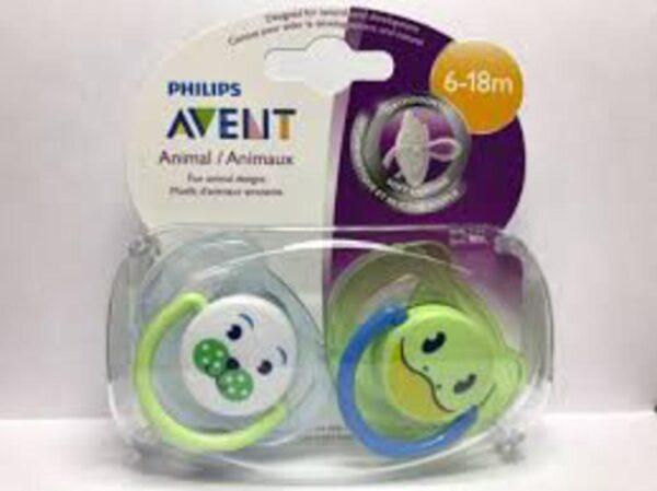 2 SUCCHIETTI ANIMALETTO SIL 6-18 M 0%BPA - Avent