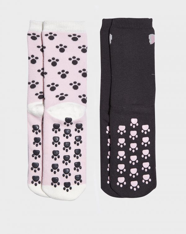 Pack 2 paia di calze antiscivolo bimba con impronte di gatto - Prénatal