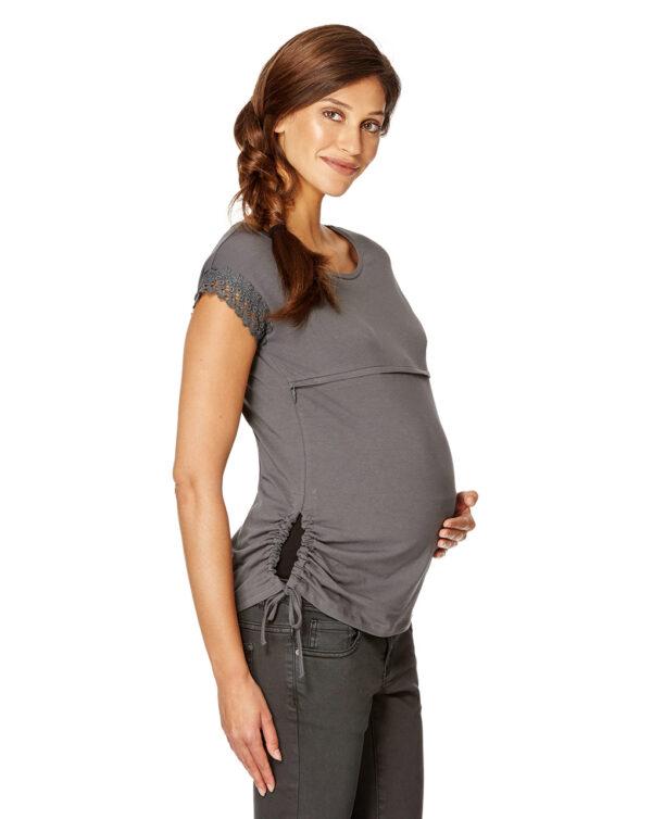 T-shirt allattamento grigio scuro con pizzo - Prénatal