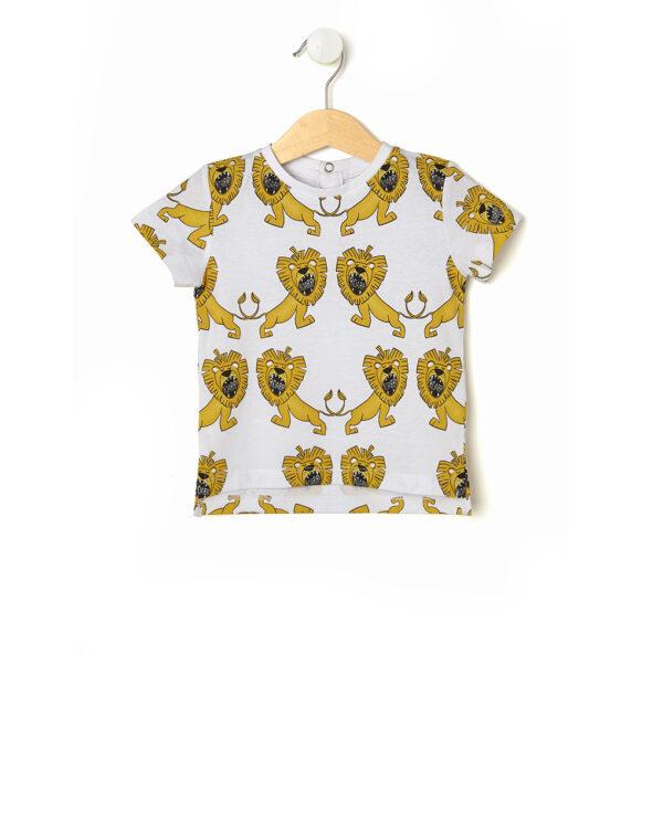 T-shirt bianca con stampa leoni - Prénatal
