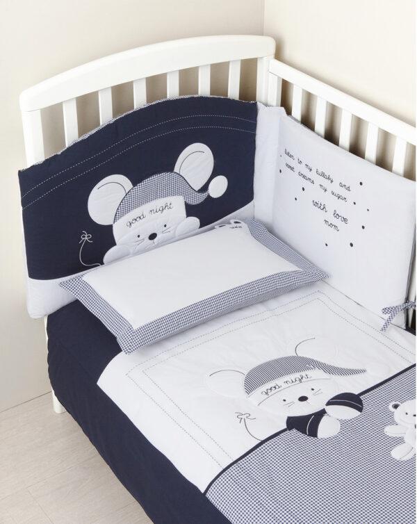 Set letto blu vichy con topolino - Prénatal