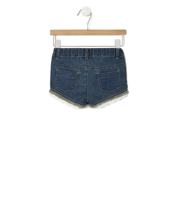 Shorts in denim con roselline e sangallo - Prénatal