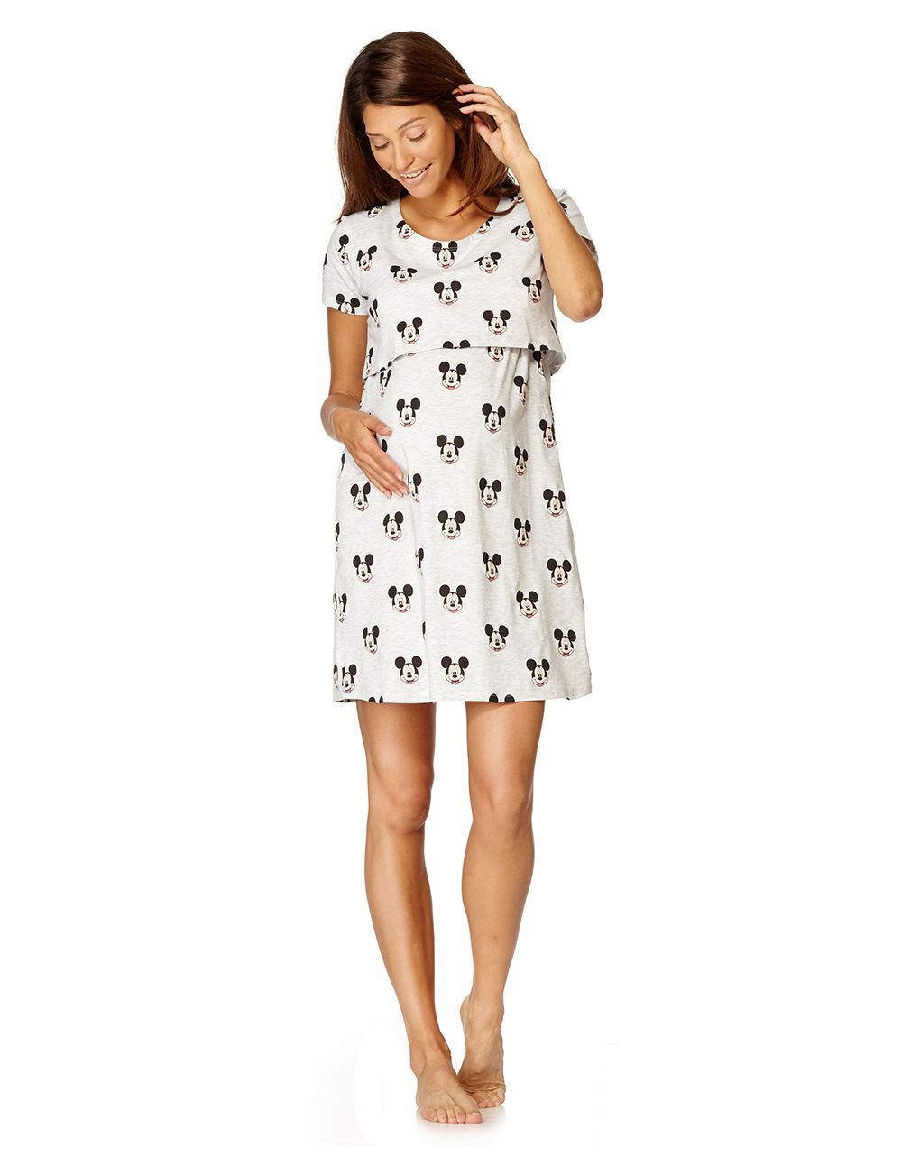 design innovativo qualità venduto in tutto il mondo Camicia da notte allattamento grigio chiaro con Mickey Mouse