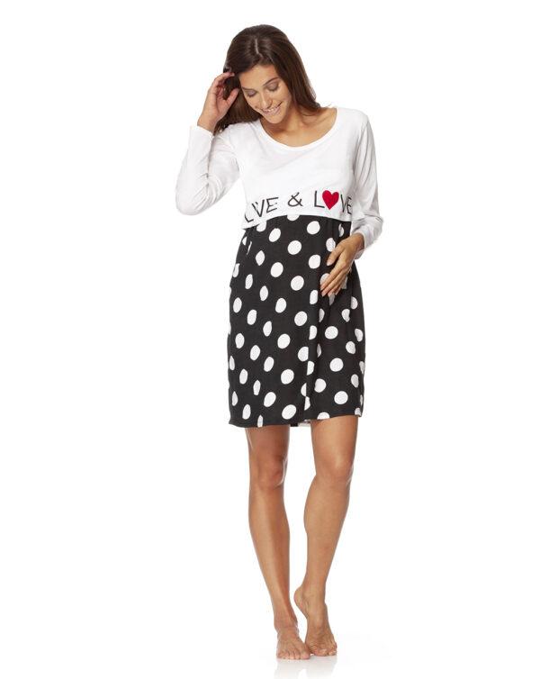 Camicia da notte con scritta e pois bianchi - Prénatal