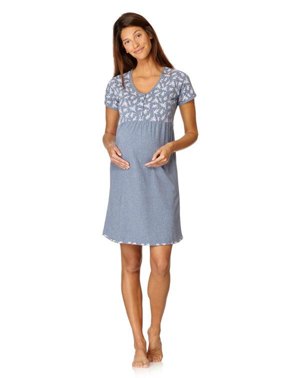 Camicia da notte blu mélange con fiori - Prénatal