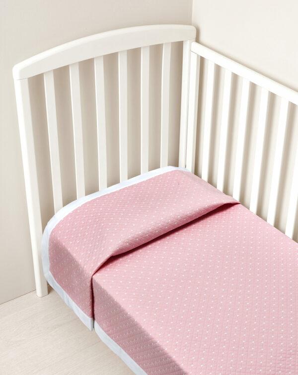 Coperta letto estiva rosa con bordo bianco - Prénatal