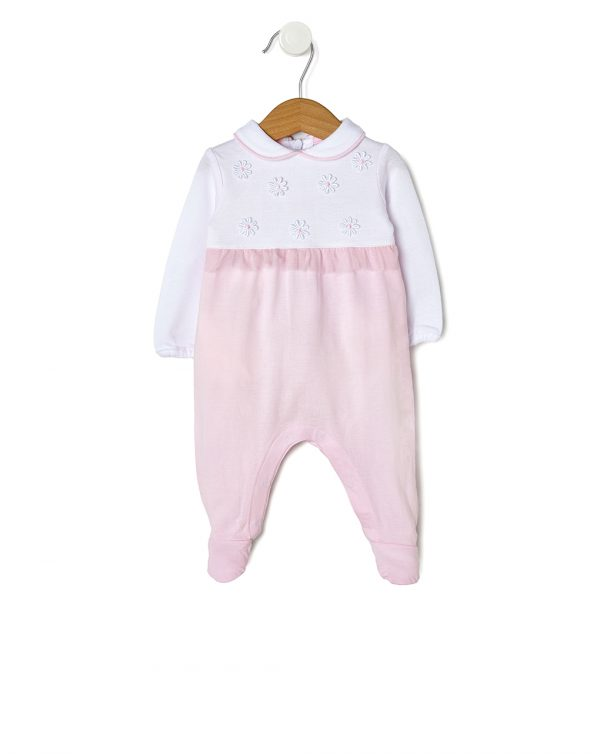 Tutina in jersey bianca e rosa con fiorellini applicati - Prénatal