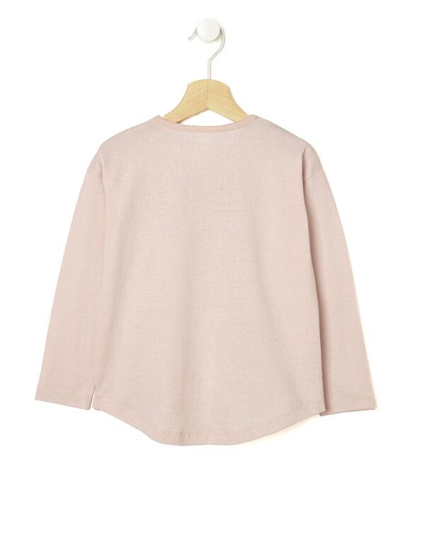 T-shirt rosa con cuori glitter e scritta - Prénatal