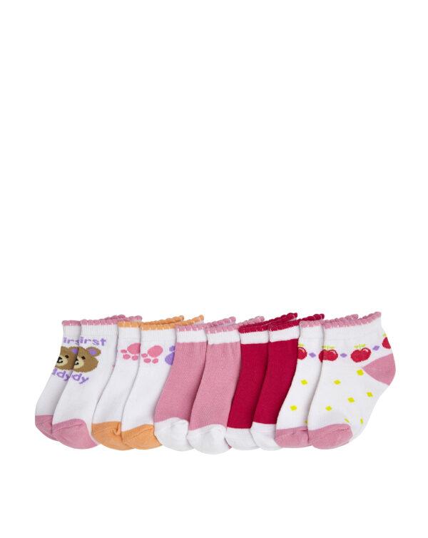 Pack 5 calze corte con orsetti e cuori rosa - Prénatal