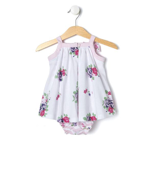 Pagliaccetto bianco a fiori e righe rosa - Prénatal