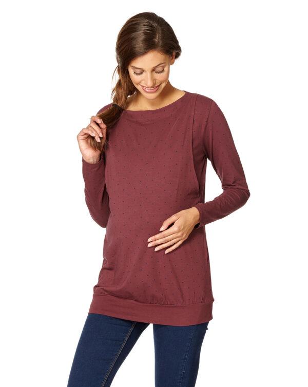 T-shirt allattamento bordeaux a pois neri - Prénatal