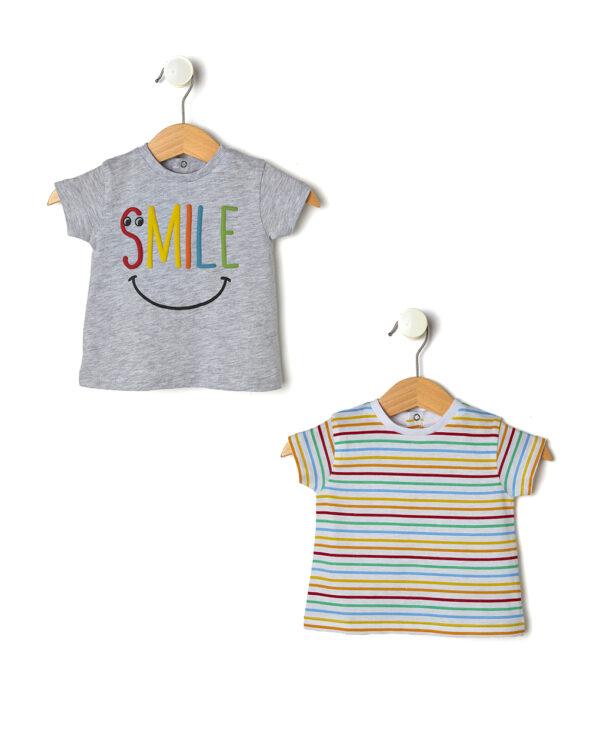Pack 2 top con stampa Smile e righe - Prénatal