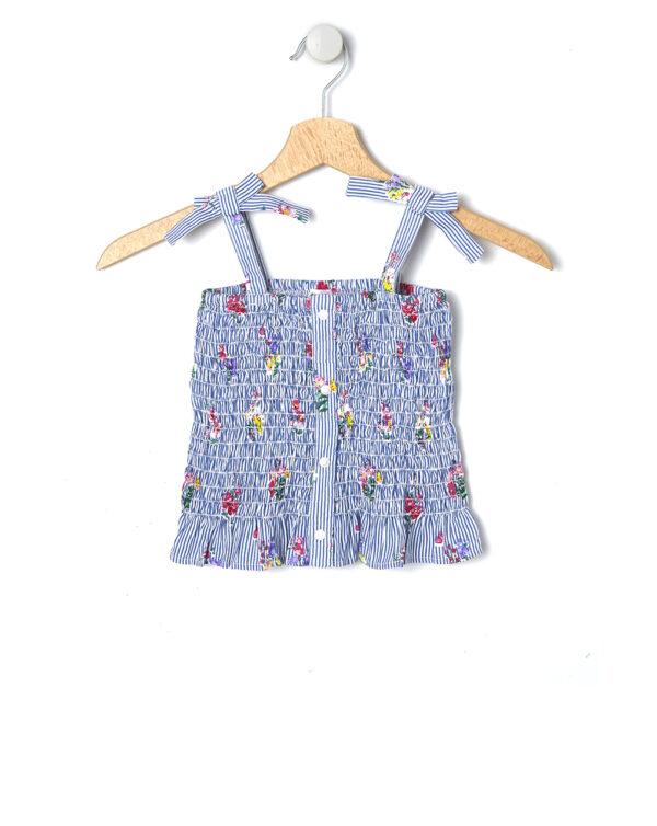 Top a righe blu e bianche con fiori - Prénatal