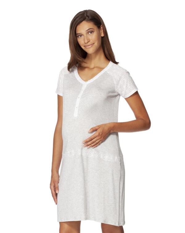 Camicia da notte grigio mélange e sangallo bianco - Prénatal