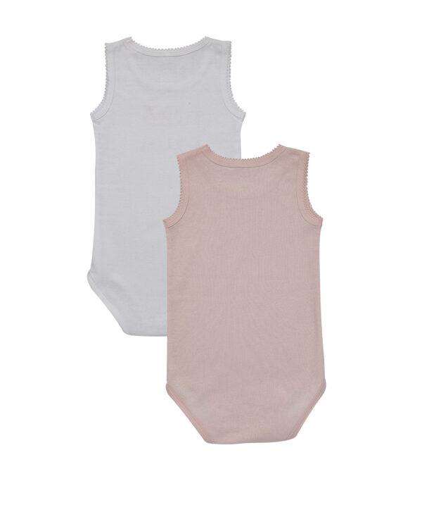Pack 2 body a canotta bianco e rosa chiaro - Prénatal
