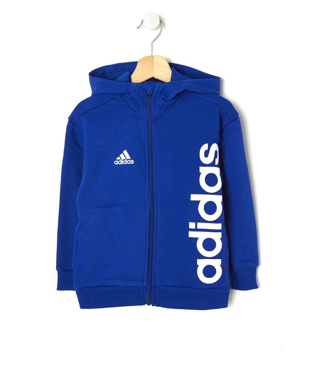 best service cc95d ad4c4 Felpa Adidas blu con cappuccio