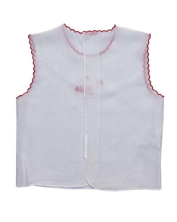 Camicino in seta bianco con ricamo rosso - Prénatal