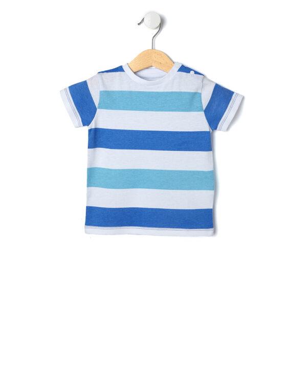 T-shirt a righe bianche, azzurre e blu - Prénatal
