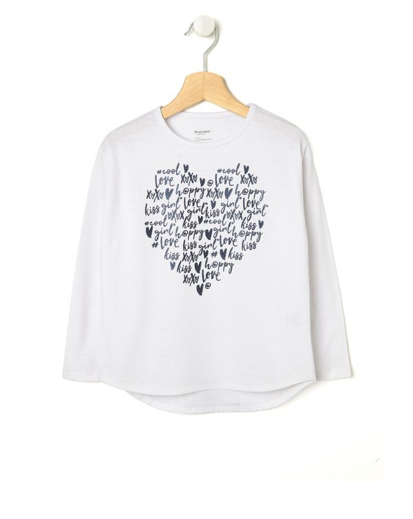 T-shirt bianca con cuore di scritte - Prénatal