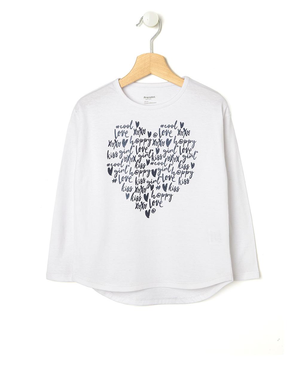 free shipping 9f0ff 103c9 T-shirt bianca con cuore di scritte