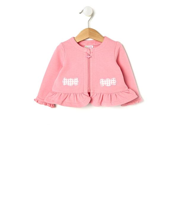 Cardigan rosa con caramelle vichy rosa applicate - Prénatal