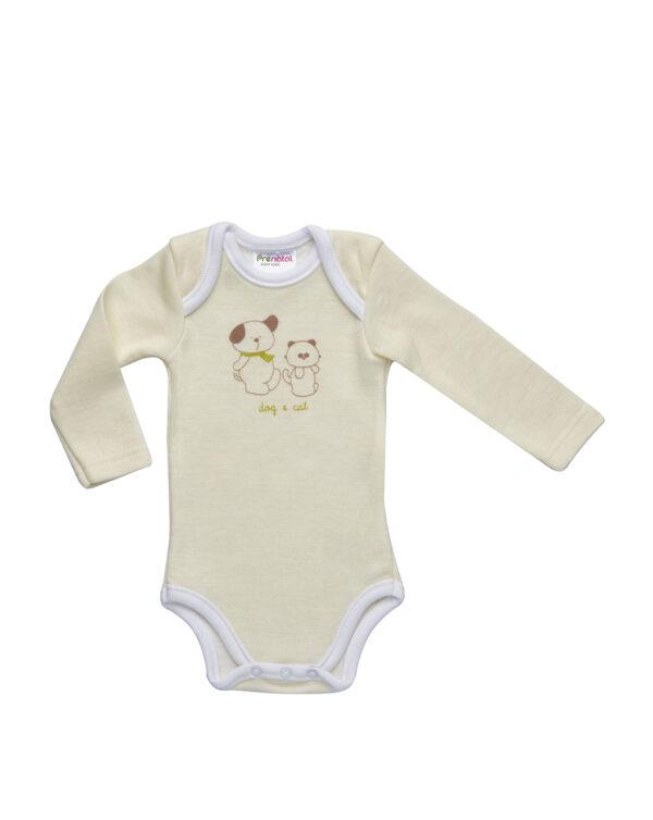 Body duetto in cotone e lana giallo chiaro con cane e gatto - Prénatal