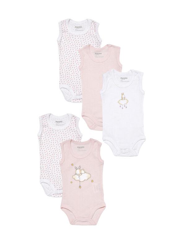 Pack 5 body bianchi e rosa con coniglietti e cuori - Prénatal