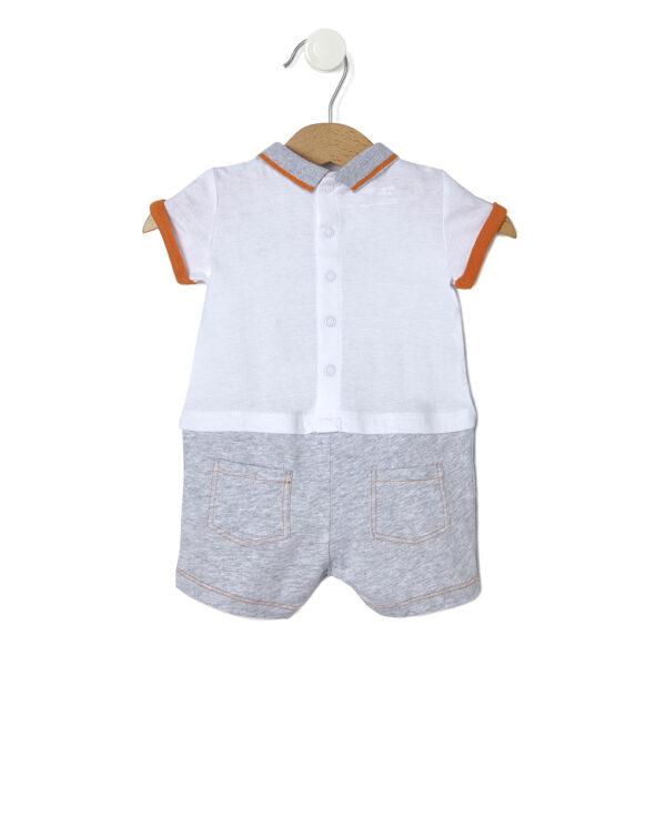 Tutina in jersey bianco effetto doppio safari - Prénatal