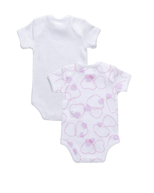 Pack 2 body bimaglia bianco e cuori rosa chiaro - Prénatal