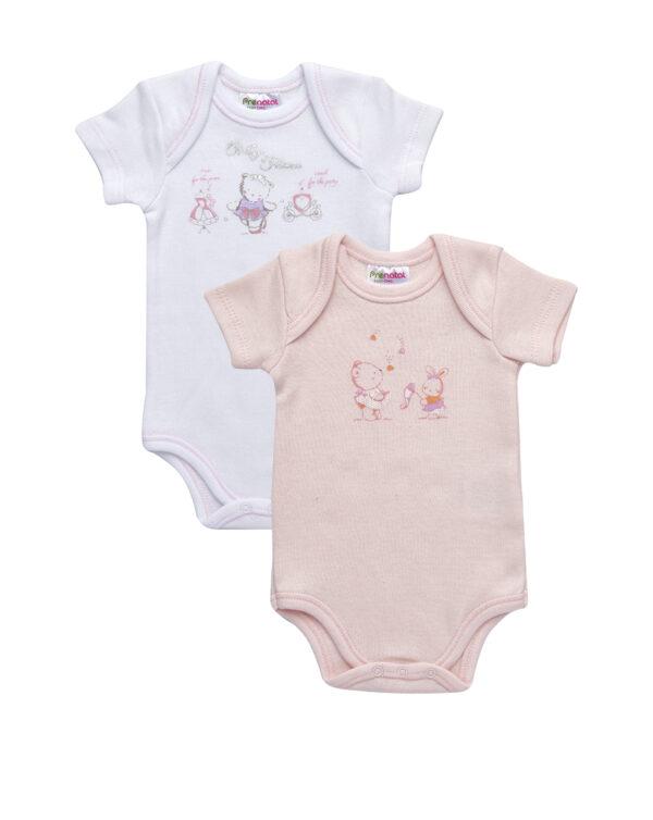 Pack 2 body in bimaglia rosa e bianco con stampa animaletti - Prénatal