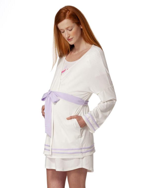 Vestaglia panna con dettagli lilla e cintura - Prénatal
