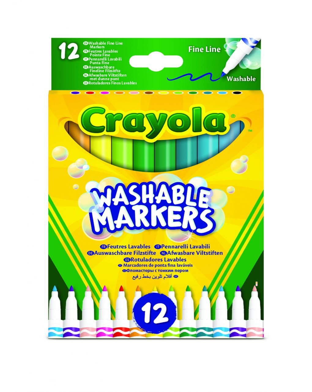 Crayola - 12 pennarelli punta fine ultra lavabili - Crayola