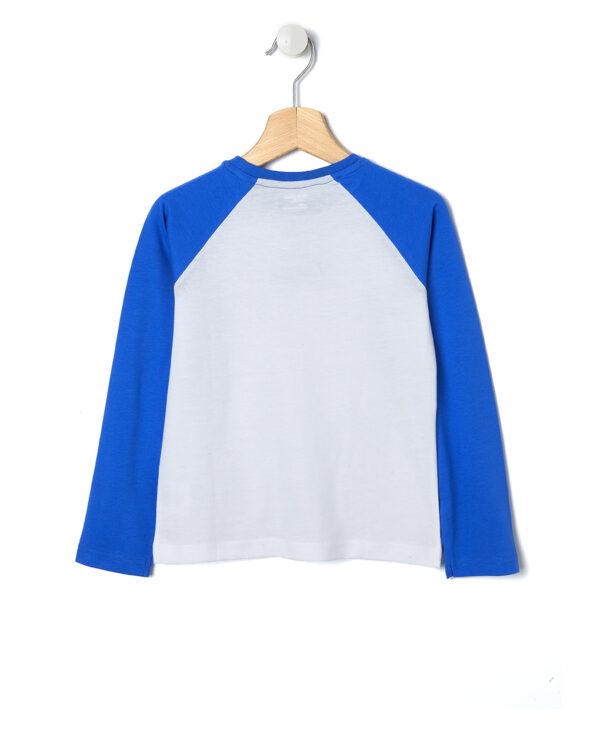 T-shirt bianca con maniche blu - Prénatal