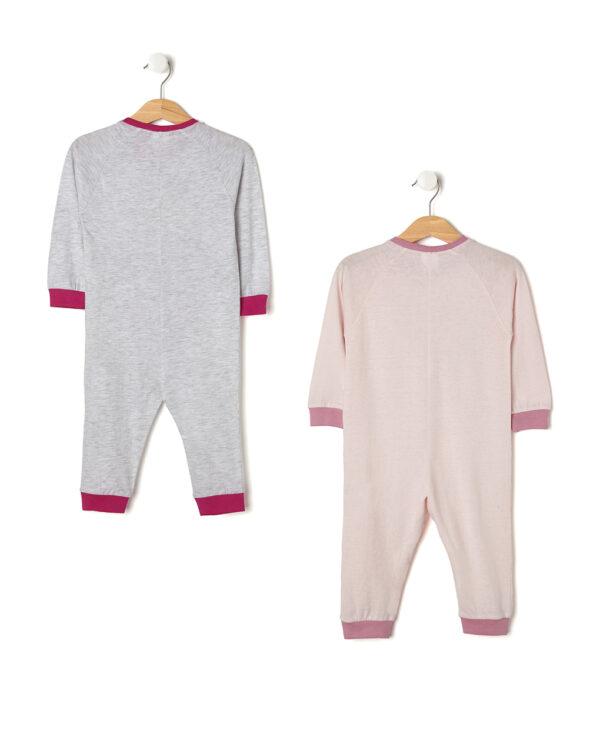 Pack 2 pigiamoni rosa e grigio con foca e pinguino - Prénatal