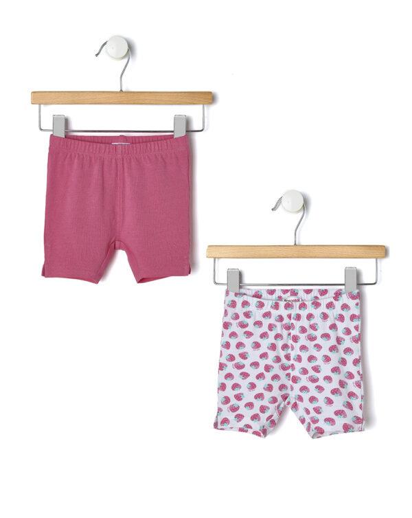 Pack 2 pantaloncini corti fucsia e bianchi con fragole - Prénatal