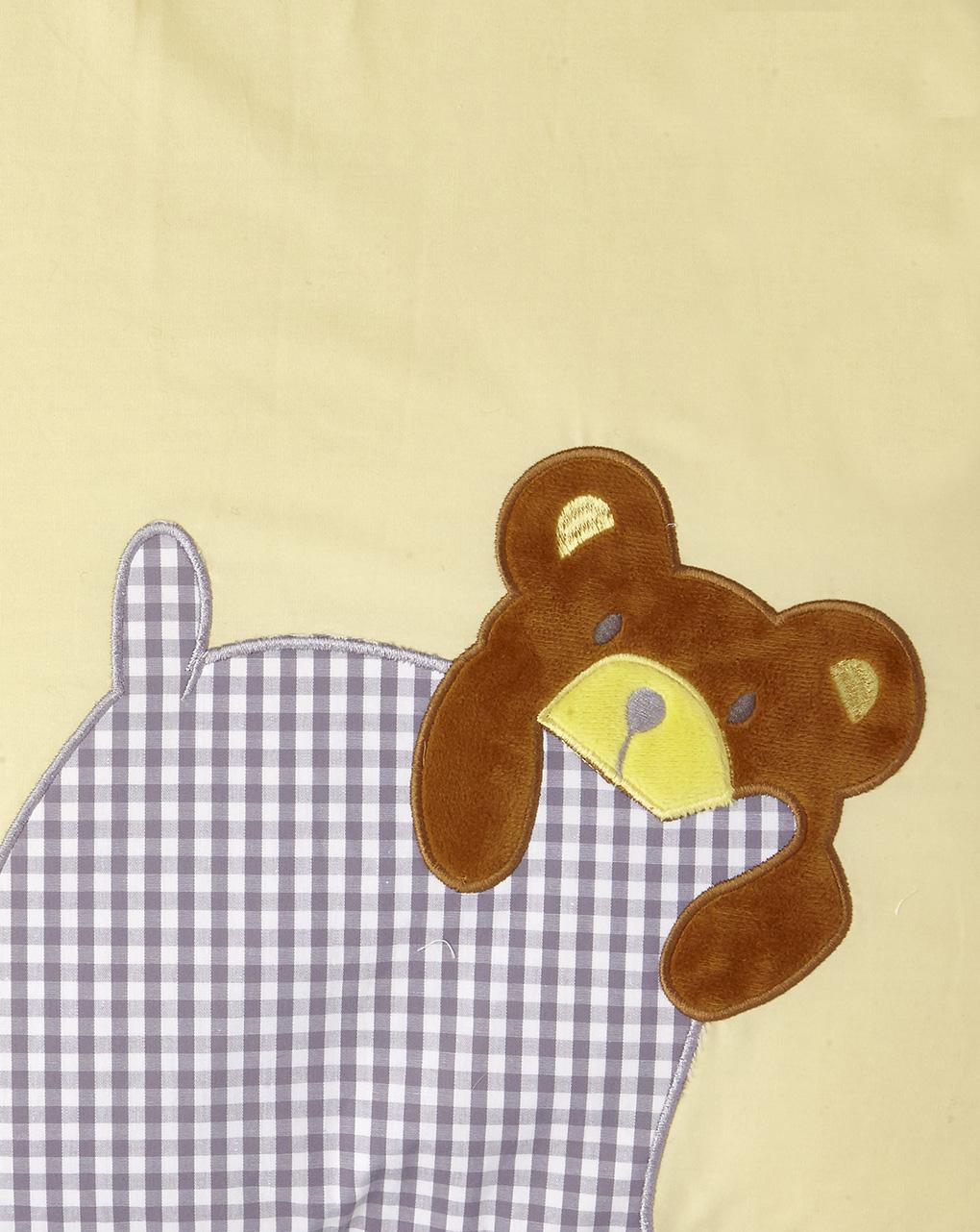 Letto - paracolpi giallo con animaletti e stampa vichy - Prénatal
