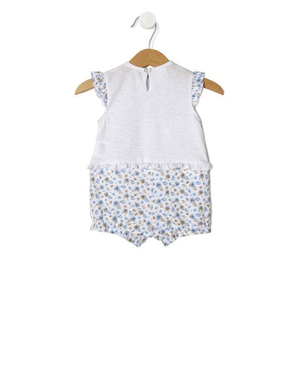 Pagliaccetto bianco con fiorellini azzurri e beige - Prénatal