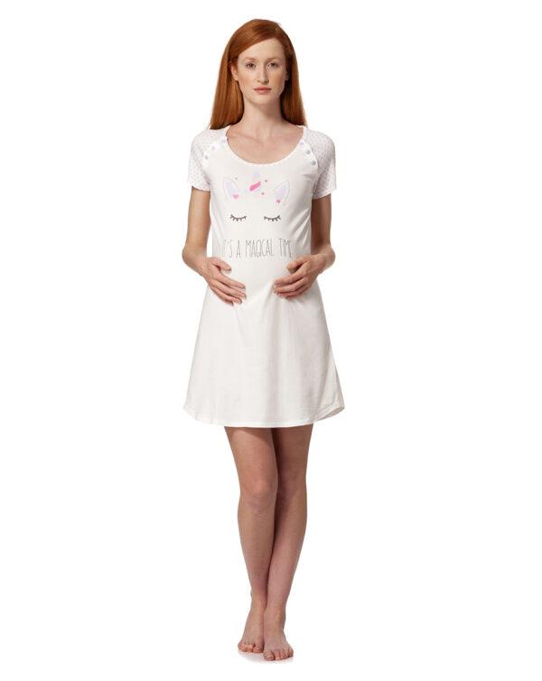 Camicia da notte panna con unicorno e scritta - Prénatal