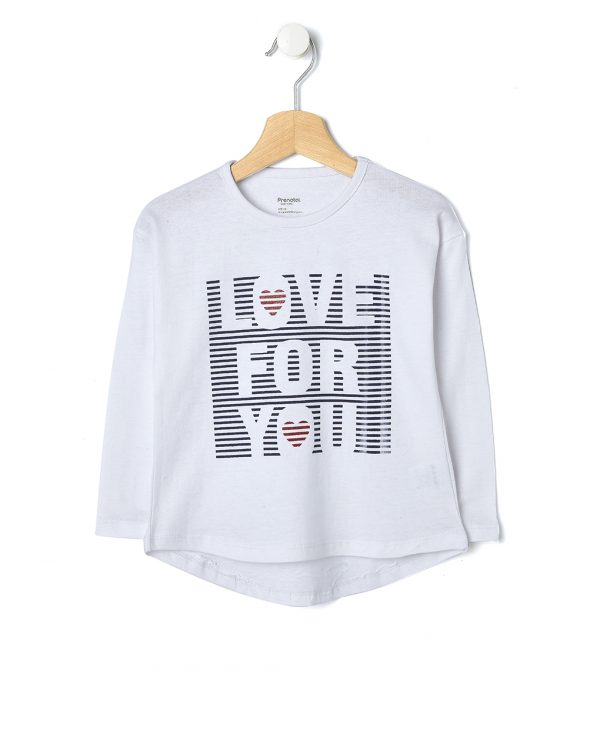 T-shirt bianca con scritta Love For You - Prénatal