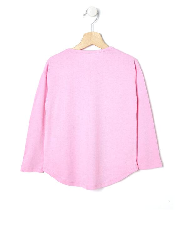 T-shirt rosa con scritta e bacio glitter rosa - Prénatal