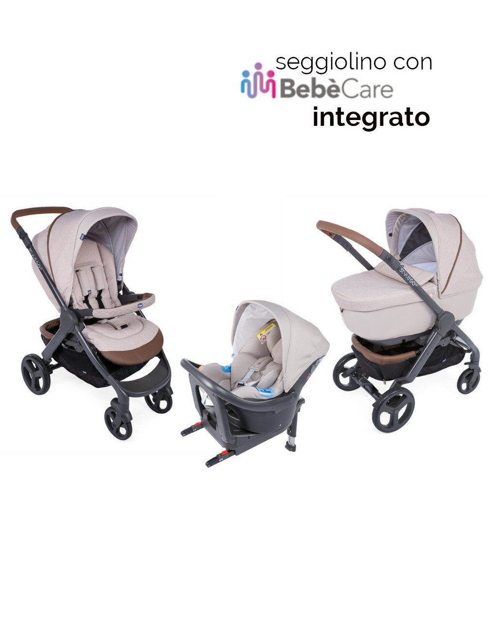Trio stylego up crossover beige con oasys i-size + bebècare - Chicco