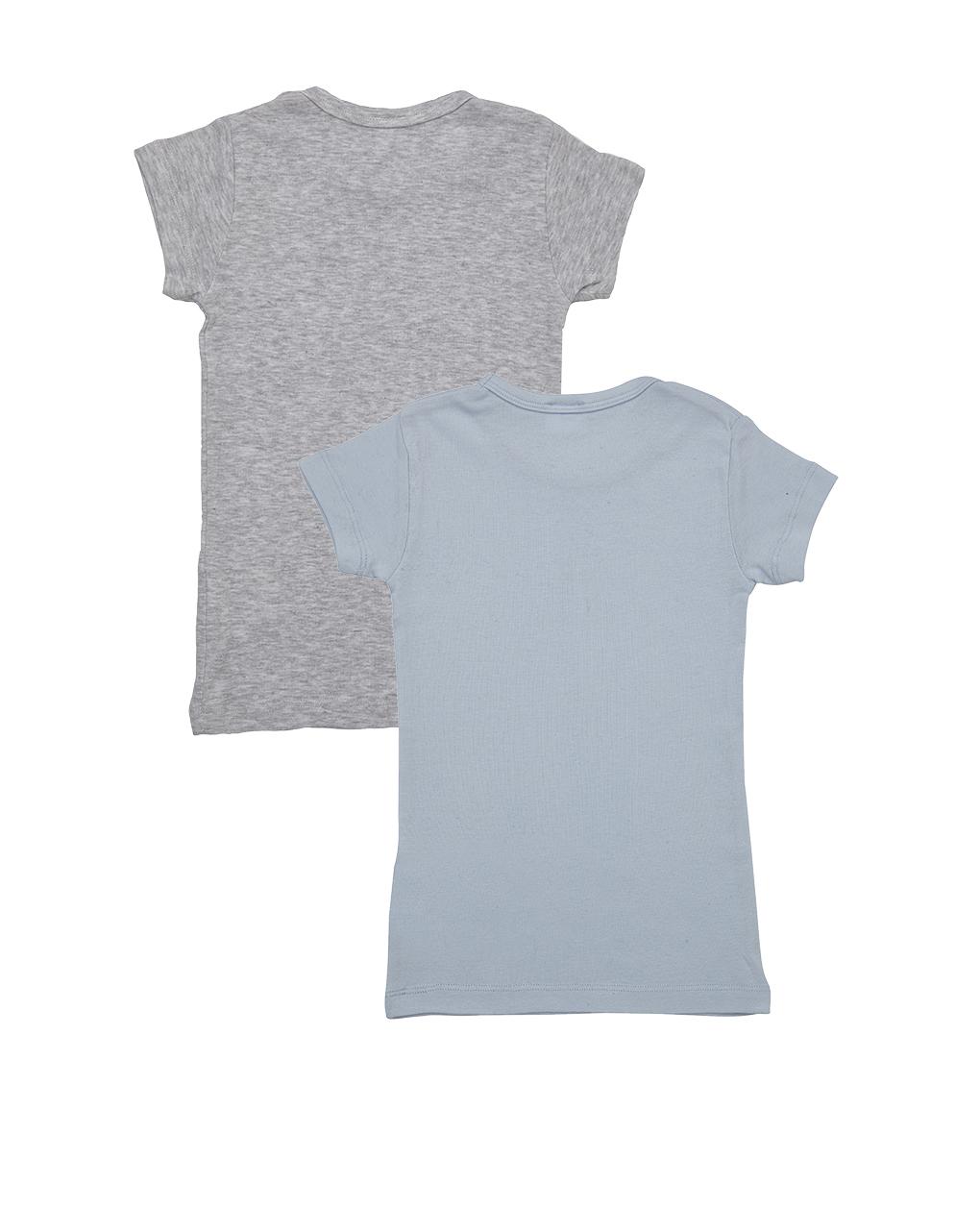 Pack 2 t-shirt grigia e azzurra con cane e stella - Prénatal