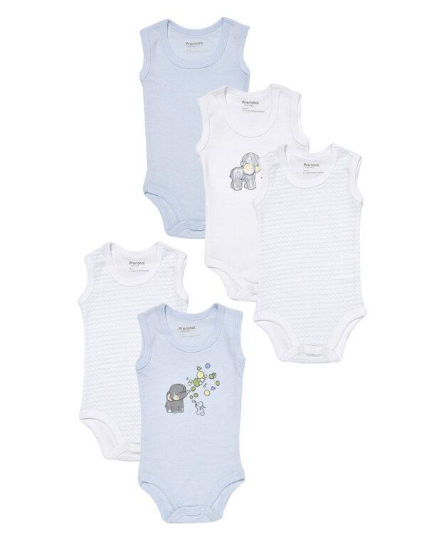 Pack 5 body bianchi e azzurri con animaletti e righe - Prénatal