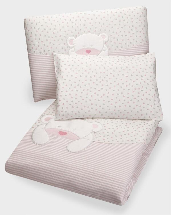 Set 4 pezzi letto con orso rosa, cuoricini e righe - Prénatal