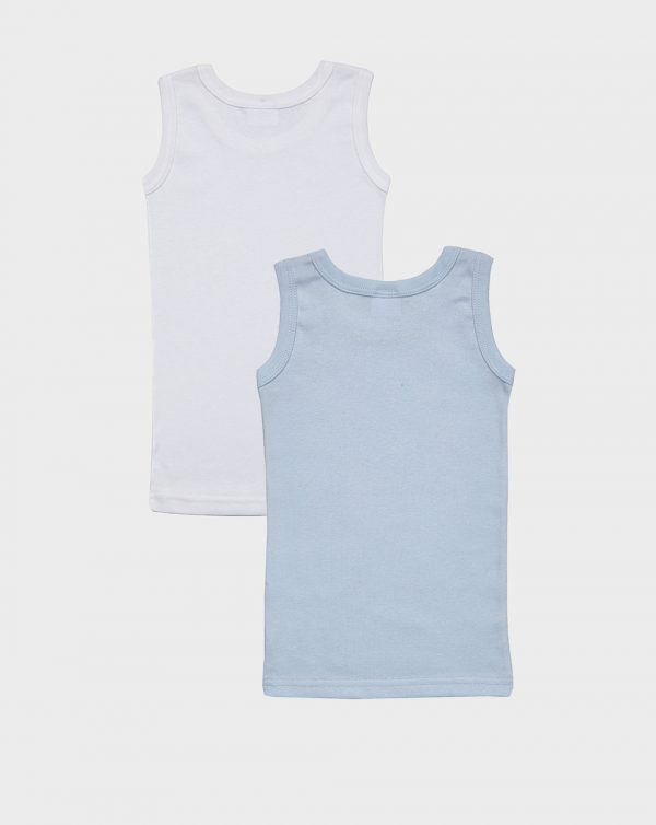 Pack 2 canotte a spalla larga tinta unita azzurro e bianco - Prénatal