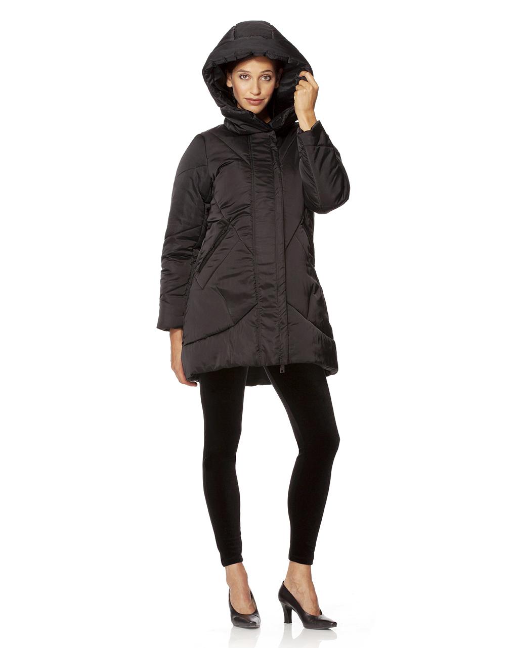 online retailer 0b7d8 4b118 Piumino lungo nero con cappuccio